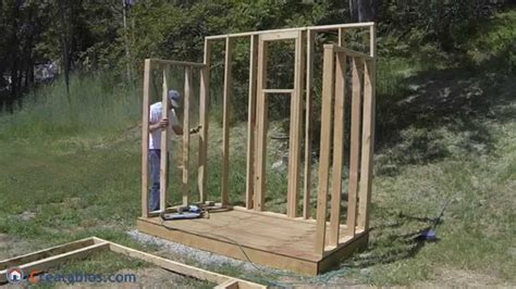 build  lean  shed part  wall framing youtube