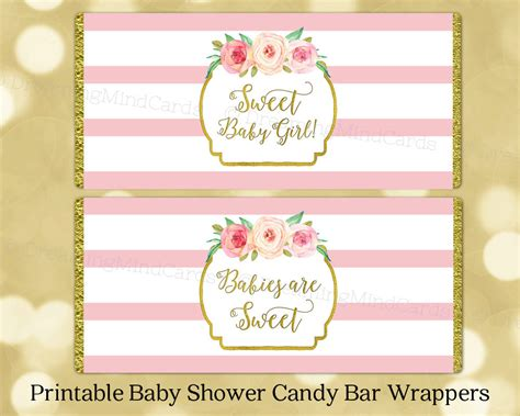 baby shower wrappers templates free printable bar wrapper labels baby shower pink