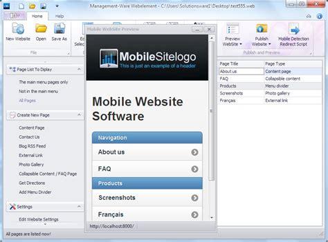 jquery mobile builder new desktop software to create mobile website based on