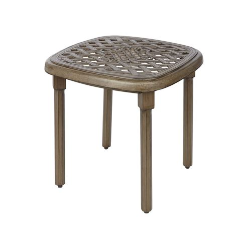 Hton Bay Marshmallow Round Commercial Grade Aluminum Patio Side Table Metal