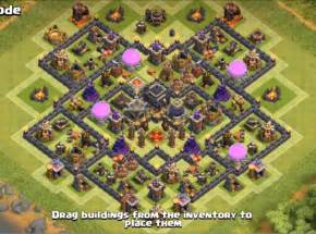 Clash of clans town hall 9 farming base with bomb tower coc th9
