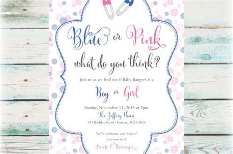 printable blue  pink gender reveal party invitation