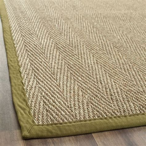 Seagrass Runner Rug handwoven sisal with olive border casual seagrass