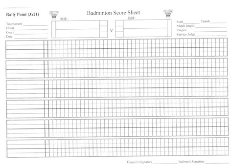 Badminton Score Card Template by 404 Not Found