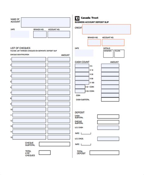 bank deposit form template sle deposit slip template 8 free documents