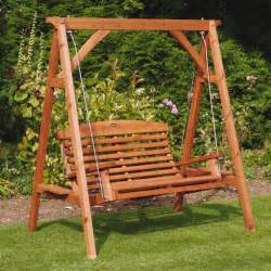 Apex Luxury Wooden Garden Swing Seat Teak Finish Uk
