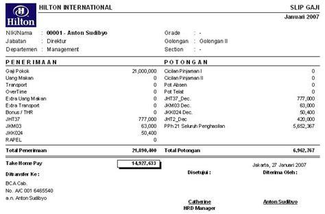 contoh slip gaji karyawan sederhana software payroll indonesia penggajian pph 21