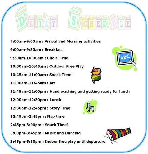 Child Care Daily Routine Template by Preschool Daily Schedule Home Daily Schedule Tuition