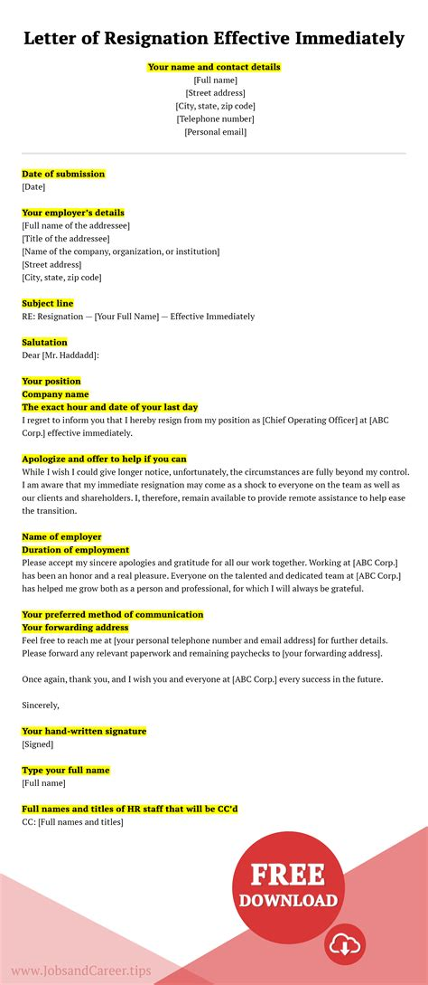 write short notice resignation letter success