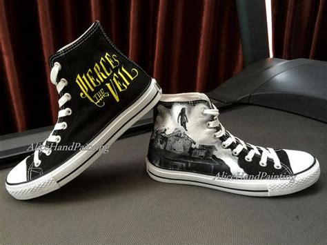 All Costum All black converse custom painted shoes custom converse