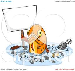cartoon of a sad fish holding a sign in polluted water