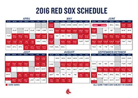 printable schedule boston sox