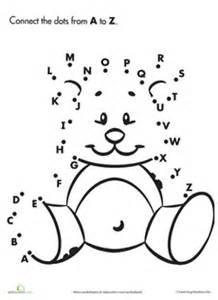 dot dot teddy bear worksheetdots printables alphabet dots abc teddy bears kids