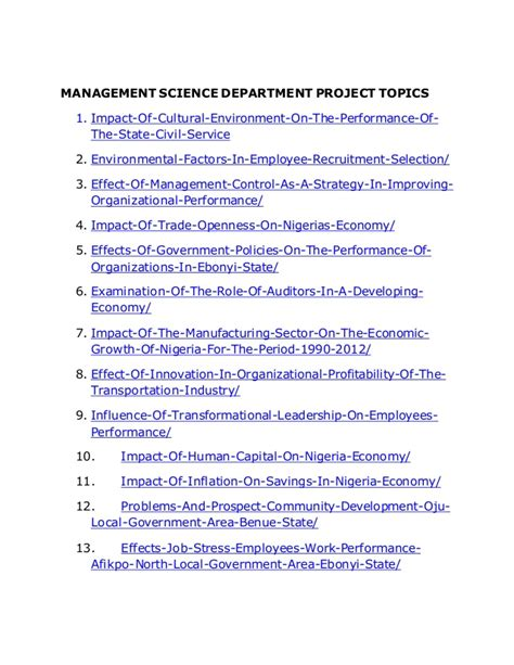 management topics for research paper topics for research project in management mfacourses887