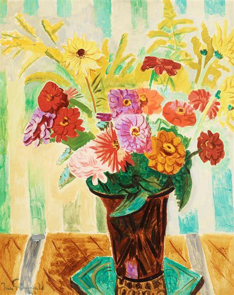 gänseessen grunewald isaac gr 220 newald blomsterstilleben mot randig tapet