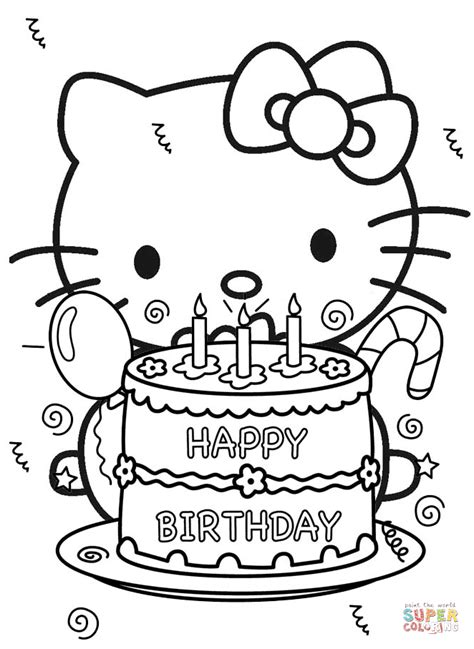 coloring pages hello kitty online happy birthday hello kitty coloring page free printable