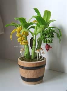 mini banana tree miniature banana plant clay flower art