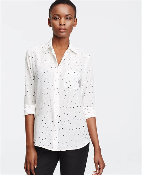 Cd598 Sofie Hi Lo Blouse dotted silk blouse in white lyst