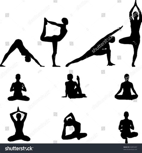 imagenes yoga vector yoga silhouettes set stock vector 92855497 shutterstock