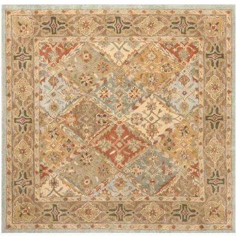rug square safavieh heritage light blue light brown 6 ft x 6 ft square area rug hg316c 6sq the home depot