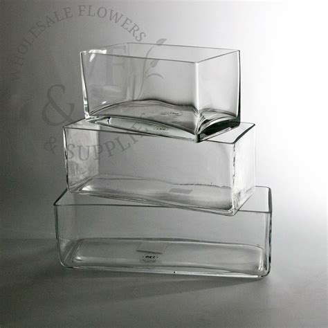 Low Vase by Low Rectangle Glass Vases 10x4x4 Wholesale Flowers And