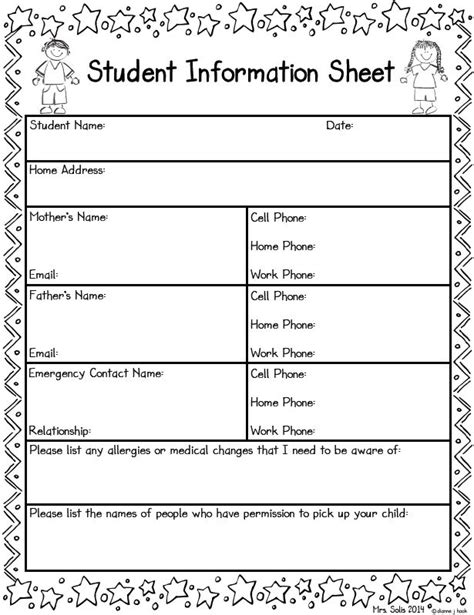 student information card template 27 images of preschool student profile template
