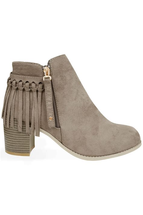 boots with tassels taupe comfort insole suedette heeled ankle boots with