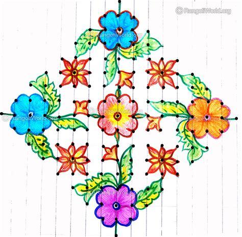 design flower kolam with dots flower kolam jan1 2015