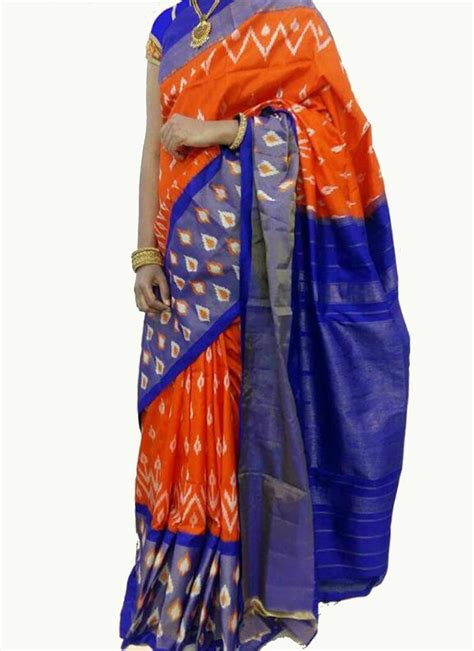 orange and blue combination orange with blue combination border ikat saree and blouse