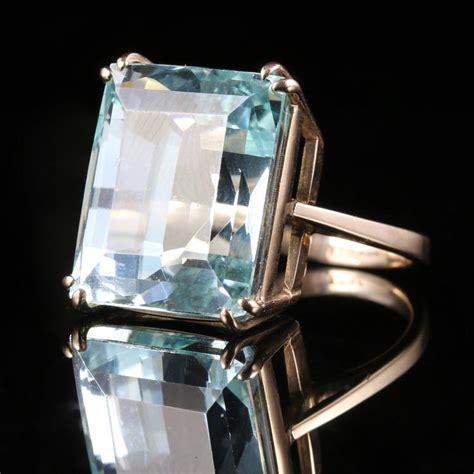 antique deco aquamarine gold ring 30 carat aquamarine