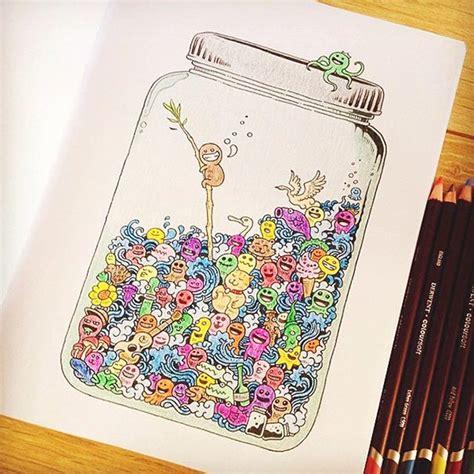 Buku Doodle Land cara desain buku mewarnai untuk orang dewasa doodle
