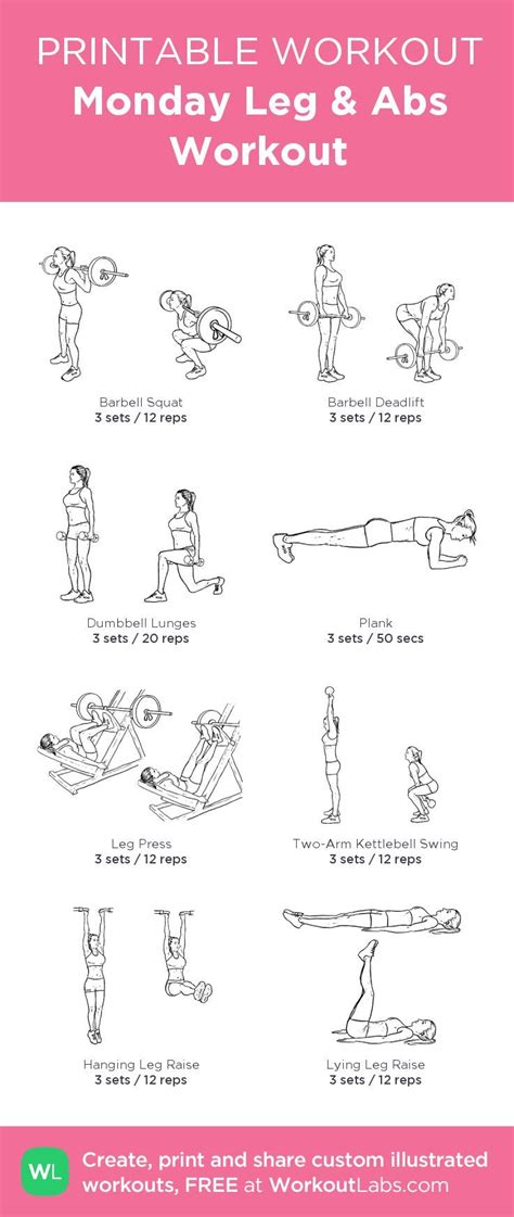 monday leg abs workout my custom printable workout by workoutlabs workoutlabs