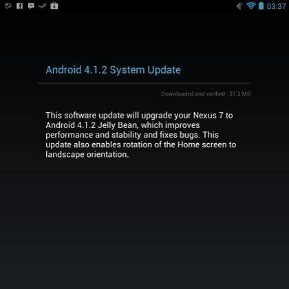 android 4 1 2 update releases android 4 1 2 jelly bean update nexus 7 gets it