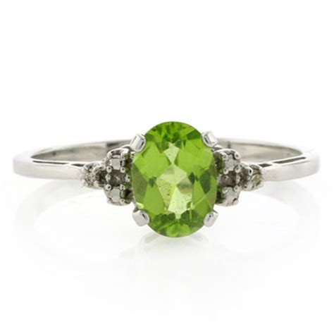 genuine and peridot white gold ring silverbestbuy