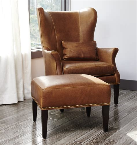 clinton upholstery clinton modern wingback italian leather chair with