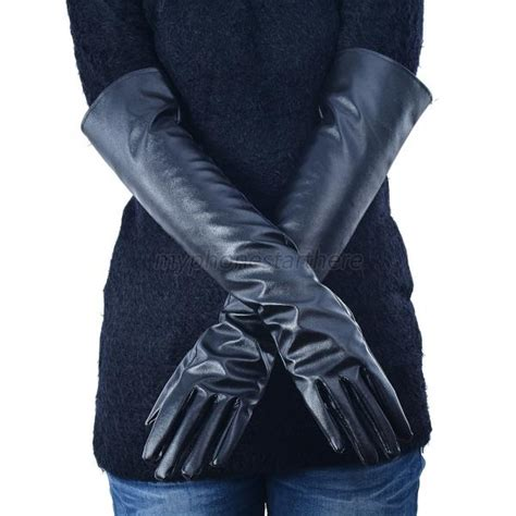 Faux Leather Gloves faux leather gloves opera evening pu