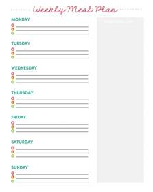 Monthly Grocery List Template Weekly Meal Planner Printable