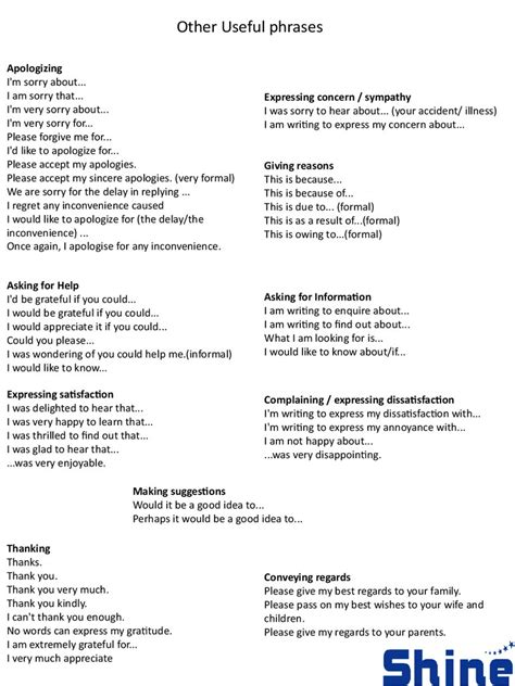 Memo Writing Useful Phrases Useful Phrases For Formal Letters Useful Expressions For