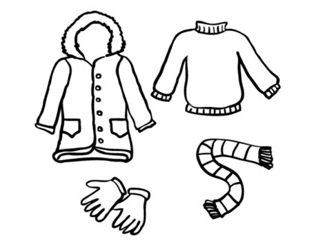 winter clothes line draw clipart best