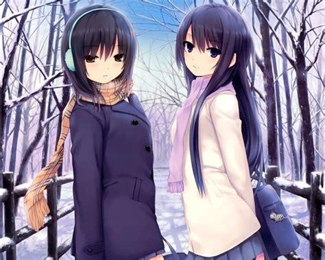 girl with brown hair in snow ice winter snow brown eyes purple hair anime scarfs purple