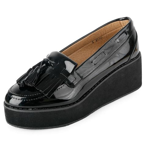 loafer wedge shoes new platform black patent casual loafer womens