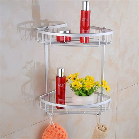Bath Shower Corner Shelf Wall Aluminium Wall Mounted Bathroom Corner Shower Caddies