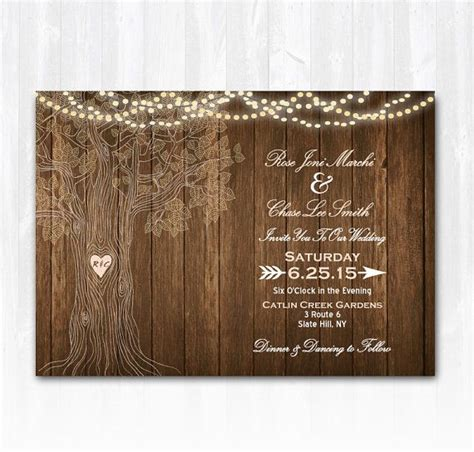rustic tree card template tree wedding invitation rustic wedding invitation string