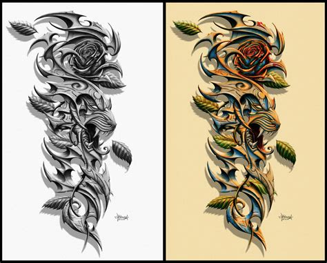 tiger rose tattoo design by doris bunn