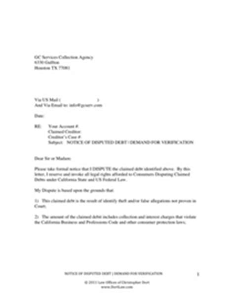 Dispute Letter For Paid Collection Office Of Christopher Dort