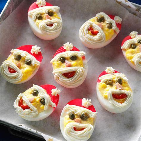Last Day For Christmas Decorations Santa Deviled Eggs Recipe Taste Of Home