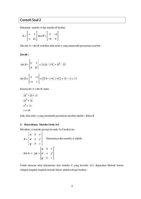Determinan dan invers matriks