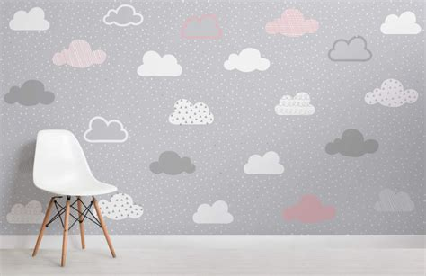 baby girl wallpaper uk pink and grey clouds pattern wall mural murals wallpaper