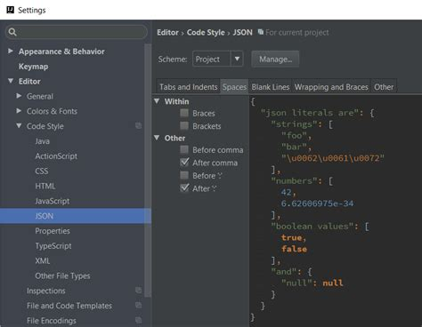 format file intellij how to format spaces in idea json formatting for empty