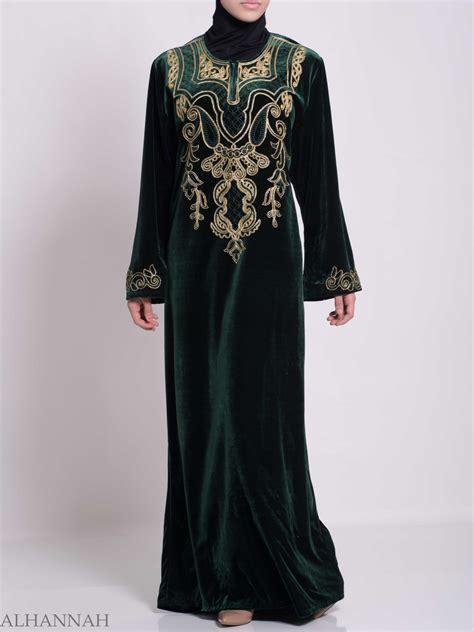 Jilbab Velvet Sequin Syria Berkualitas paisley embroidered syrian velvet thobe th787